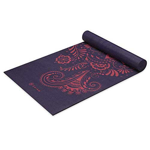 Gaiam Esterilla de yoga con impresión premium, color berenjena, 6 mm