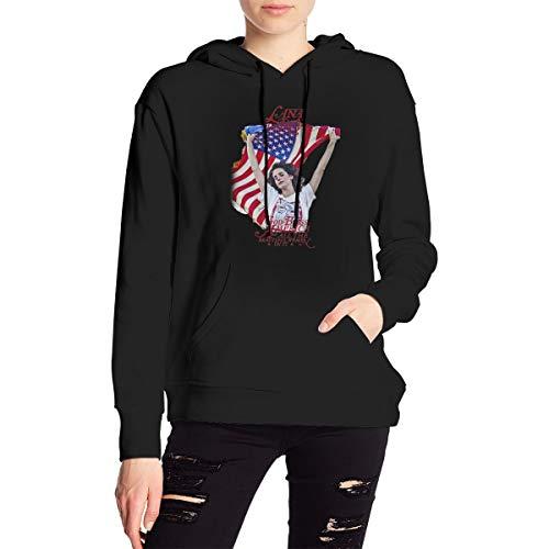 HazelTDahl La-Na Del Rey Cool Hoodie Women's Long Sleeve Hooded Sweater Pullover Fleeces Black