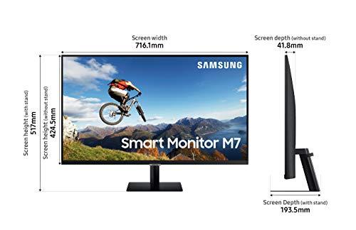 Smart Monitor M7 32 Zoll, VA 32 Zoll, UHD 4K (3.840 x 2.160), HDR10, Tizen, Smart Hub, USB Type-C, schwarz