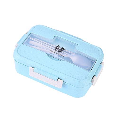 JIASHA Lunch Bento Box,Infantil Paja de Trigo loncheras,Caja de Bento a Prueba de Fugas con 3 Compartimentos y Cubiertos,para Microondas y Lavavajillas (Verde)