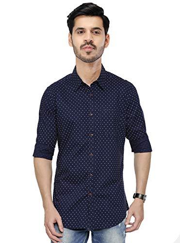 CotReal Men's Formal Solid Slim Fit Shirt 100% Cotton (Print dots, 44)