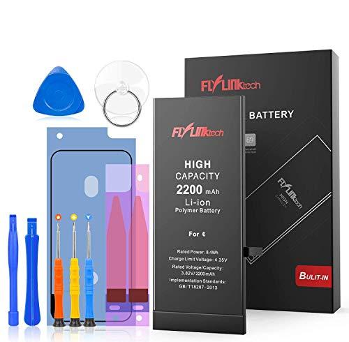 Akku für iPhone 6 2200mAh, FLYLINKTECH rsatz mit höherer Kapazität als andere Batterien, Batterie mit Werkzeugset und Reparaturset