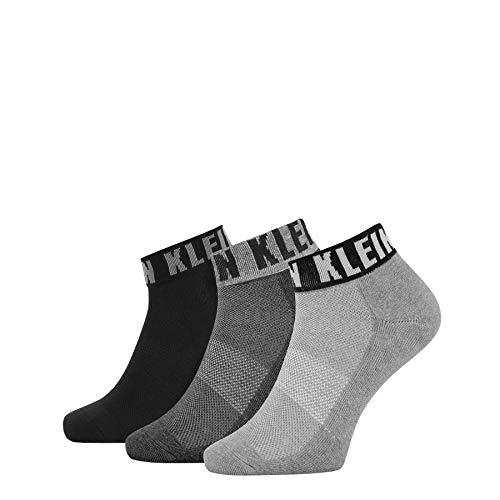Calvin Klein Socks Mens Logo Cuff Men's Quarter (3 Pack) Socks, Grey Combo, ONE Size