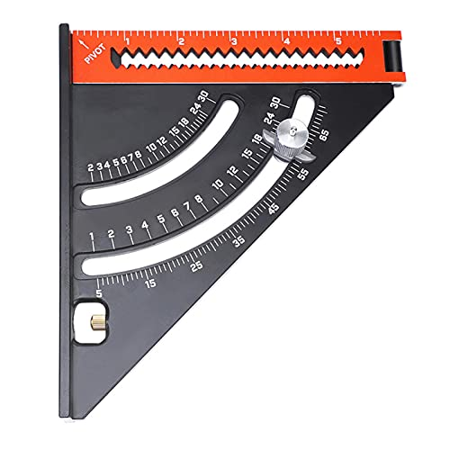 2 en 1 Regla cuadrada de triángulo plegable, goniómetro Triángulo Regla cuadrada con base, brazo extensible Hogar portátil Hoodworking herramienta de diseño extensible, herramienta de medición para