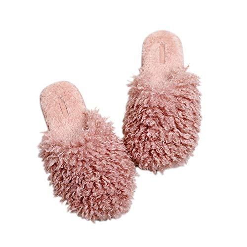 Zapatos caseros zapatillas de interior Invierno Chic House Mujeres Rizado Zapatillas de piel Slips en la memoria borrosa espuma Inicio Diapositivas Indoor Cálido Dormitorio Ladies Zapatos memoria acog