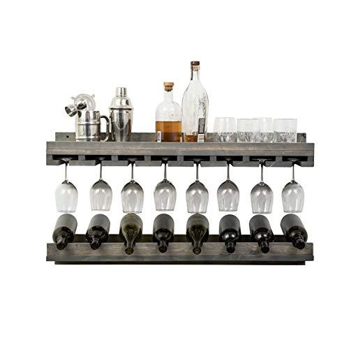 Botellero de Vino Estante de vino montado en la pared, diseños de botellas de vino de lujo rústico y tiendas de tambores para tazas de vino, estante decorativo, estante de pared, caja de almacenamient