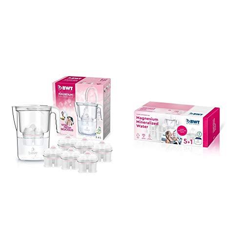 BWT speciale Caraffa d'acqua filtrante con magnesio, modello vita manuale + 6 filtri Magnesium Mineralizer & Magnesium Mineralizer Filtro Con Tecnologia Brevettata Confezione 5+1 Filtri Per Caraffe