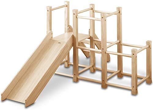 RiZKiZ 木製 ジャングルジム 耐荷重50kg すべり台 階段付 レイアウト変更可能 コーナーガード 滑り止め 室内