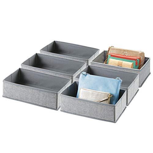 mDesign 6er-Set Aufbewahrungsbox – praktischer Schubladen Organizer für Wäsche, Accessoires und Schmuck – Faltbare Stoffbox aus atmungsaktiver Kunstfaser – grau