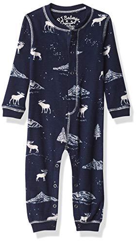 PJ Salvage Kids Baby Kids' Sleepwear Long Sleeve Thermal Romper, Navy, 12/18 mo