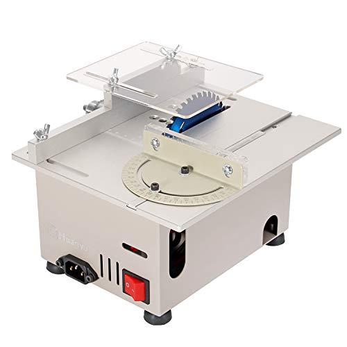 Huanyu ミニテーブルソー 300W強力切断 卓上丸鋸盤 26-29mm 硬い材料対応 木材/基板/アクリル 鋸刃/ドリルチャック付き 家庭用 DIY (銀色/300W)