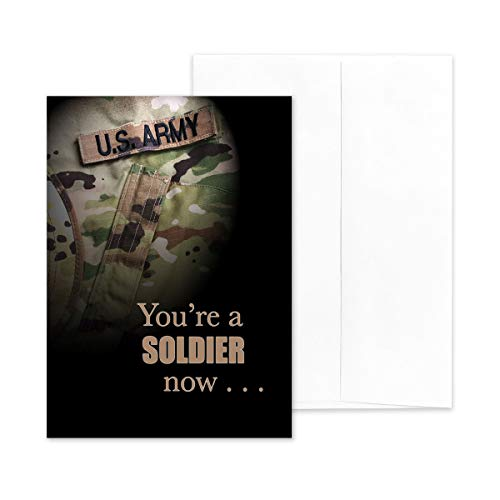 """2MyHero - US Army - Enlisted Military Boot Camp Graduation Congratulations Greeting Card - 5"""" x 7"""" Includes Envelope - A Soldier Now"""