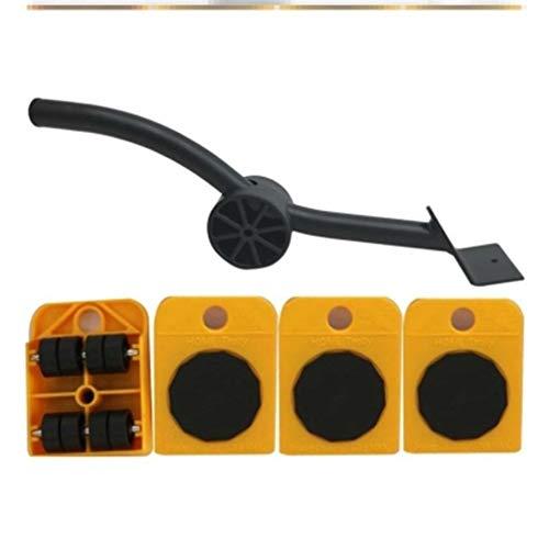genneric Möbel Transport Werkzeuge, Möbel Lifter Radsatz mit 1 Hubstange und 4 Pack 360 Grad drehbare Möbel Folien-Set, Maximallast: 150 kg (Color : Orange)