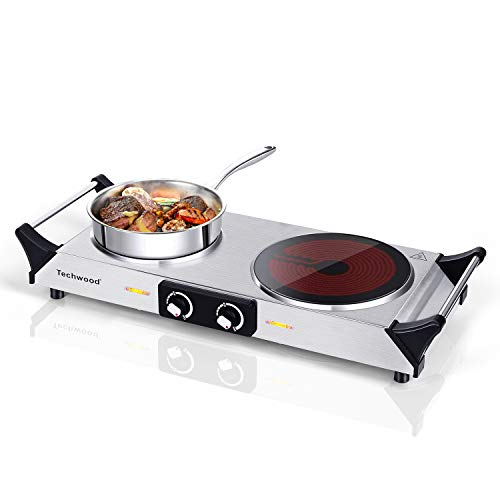 Techwood Electric Hot Plate Stove Countertop Double Burner Infrared Ceramic Double Cooktop 1800W With Adjustable Temperature Control Brushed Stainless Steel Easy To Clean Upgraded Version (Ceramic Infrared Countertop, Double Stove)