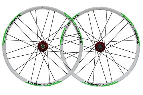 MZPWJD MTB Juego Ruedas Bicicleta 24 Pulgadas Llanta Doble Capa Freno Disco/Llanta Rueda Bicicleta 7-9 Velocidades 24H (Color : White-B, Size : 24inch)