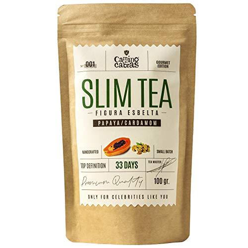 SLIM TEA - Té adelgazante - Fat Burner & Detox - Infusión para bajar de peso - Quemagrasas abdominal - Té Gourmet de hierbas 33 días - Apto dieta Keto - Antioxidante 100% Natural - 100g