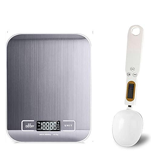 Báscula de cocina digital 5 kg / 10 kg báscula electrónica multifuncional de acero inoxidable pantalla LCD balanza de equilibrio báscula para hornear -blanco_con_blanco_5 kg