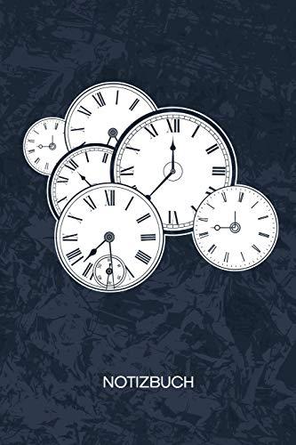 NOTIZBUCH: A5 Kariert - Zeitreisender Heft - Retro Notizheft 120 Seiten KARO - Retro Uhr Notizblock Zeitreisen Motiv - 90er Kind Geschenk
