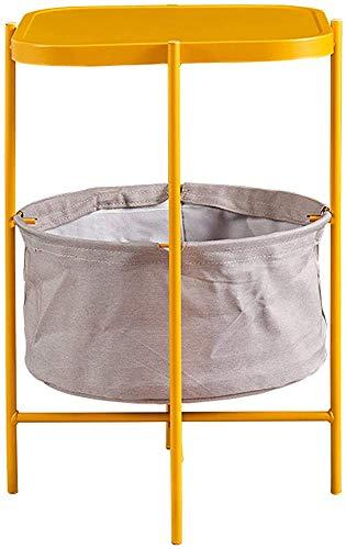 Tavolino per stoccaggio circolare, con cestello di stoccaggio del tessuto, alto tavolo da caffè alto, tavolino in metallo di noce, facile da montare,Yellow
