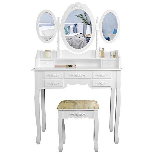 CCLIFE Specchiera Tavolo Cosmetici Mobile da Trucco da Toeletta con Sgabello Comò con Tri-Specchio, Colore:010-Bianco