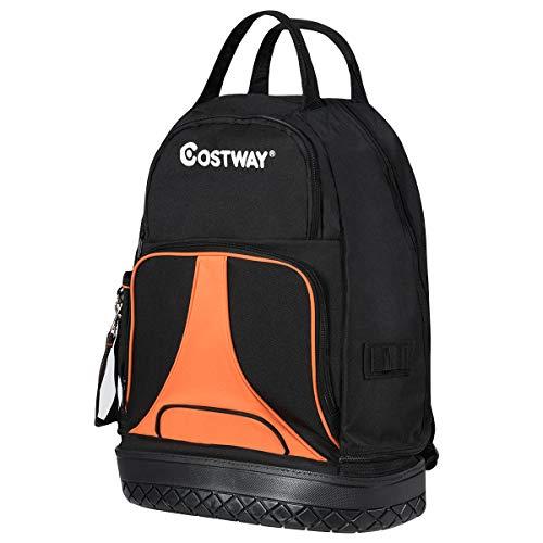 COSTWAY Werkzeugrucksack mit 33 Taschen, Werkzeugtasche schwarz, Montagetasche, perfekte Lagerung und Tragekomfort für Bauunternehmer, Elektriker, Klempner und Monteure