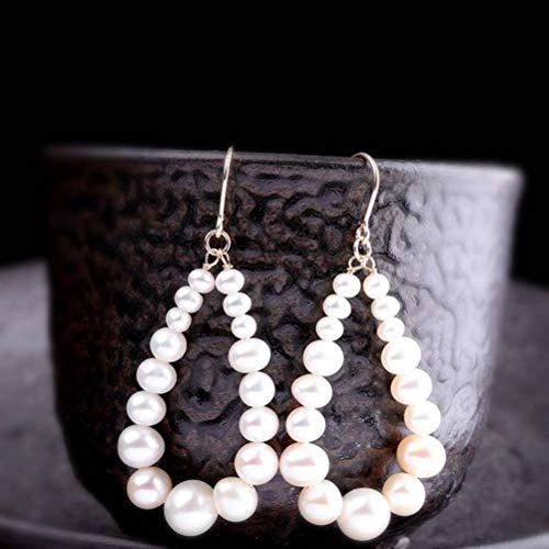 LOt Pendiente en Forma de Gota para Mujer Pendientes Hechos a Mano Puros de Moda S925 Pendientes de Perlas de Oro de 14 K de Plata EsterlinaComo se muestra