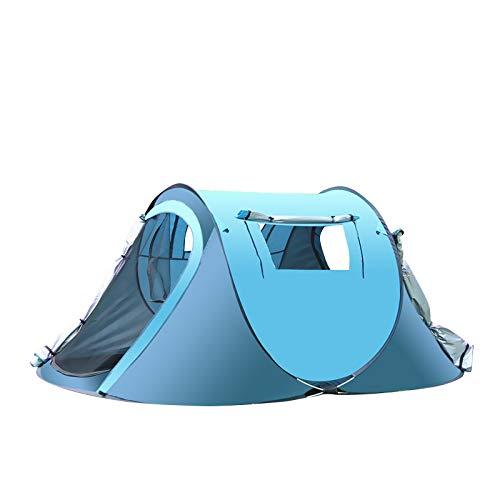 thematys Outdoorzelt leichtes Pop Up Wurfzelt Zelt in Gelb und Blau mit Tragetasche - perfekt für Camping, Festivals und Urlaub (1-2 Personen, Style 2)