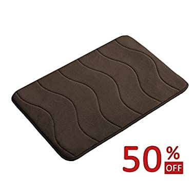 Memory Foam Bath Mats Non-Slip Bathroom Rugs Water Absorbent Fast Dry Soft Comfortable Stylish (Brown, Waved Pattern, Size: W17 x L24)