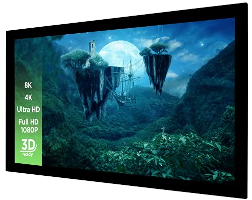 celexon Basic Beamer-Rahmen-Leinwand (Größe wählbar) mit Stecksystem für einfache Installation und schwarzem Velours überzogen - 3D und 4K - 200x113cm - 90' - 16:9