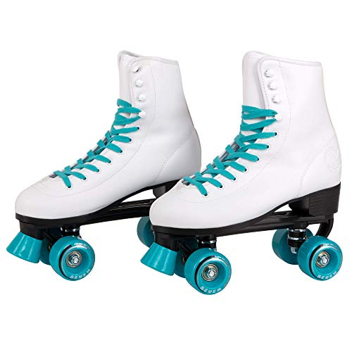C SEVEN C7skates Quad Roller Skates | Retro Design (Teal, Women's 8 / Men's 7)