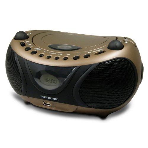 avis lecteur cd au monde professionnel Metronic477106 Radio / CD / MP3 Portable Cuivre et Noir avec Port USB – Noir et Cuivre