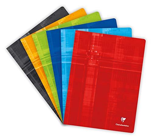 Clairefontaine 633662AMZC Lot de 3 Cahiers Agrafés - 24x32 cm - 96 Pages Petits Carreaux - Papier Blanc 90 g - Couverture Carte Pelliculée Couleur Aléatoire