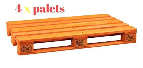 Dydaya 4 Palets Europeos Naranja de 800x1200 de Madera Lijados y Pintados de Naranja para Bodas& Camas & Cabecero & Interior & Exterior & Plantas & Maceteros (Naranja, 4)