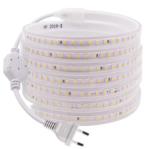 Striscia LED, striscia LED, fascia LED, luminosa fascia LED, 220 V AC 2835 IP68, impermeabile 120 LED/m, 900 lm, striscia luminosa (bianco caldo, 25 m)