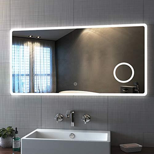 Bath-mann LED Badspiegel 120x60cm mit Beleuchtung Kaltweiß Badezimmerspiegel Spiegel mit Touch Lichtschalter, 3X Vergrößerung Lupe Schminkspiegel Wandspiegel Horizontal Lichtspiegel 6400K