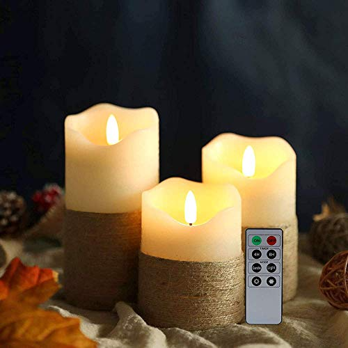 JHY DESIGN Wax Flameless Candle Portable Battery Candle 3D Electric LED Candle Lights Realistic Flickering Candle Set with Timer Remote Control for outdoor Table Wedding, 3 Pack 10/12/15cmH(Hemp Rope)