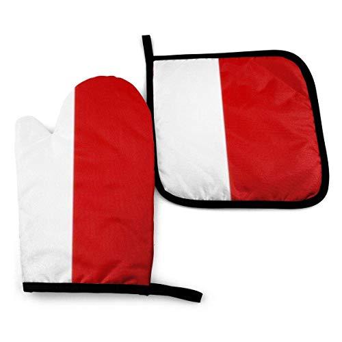 Bandera de Malta Original Simple Educación de Malta Guantes de horno y agarraderas de Malta Guantes de barbacoa-Guantes de horno y porta ollas con guantes de cocina de poliéster impermeables para coci
