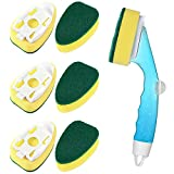 Non Scratch Dishwand with Handle - 6 Refills Heavy Duty Dish Wand Pack, Replacement Sponge Heads Set, Soap Dispenser Scrubbers, Dishwashing Scrub Brush, Cleaners Supplies, Dishwasher Cleaning Tool kit