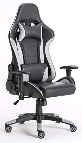 Requena Gaming Racing Sport Desk Office Chair Adjustable Computer Chair Lumbar Head Pillow Chair X2566 (Grey)