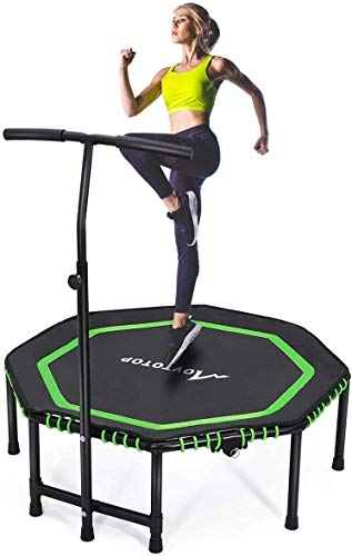 """MOVTOTOP 48"""" Foldable Mini Trampoline, Fitness Rebounder with Adjustable Foam Handle, Exercise Trampoline for Kids Adults Indoor/Garden Workout Max Load 330lbs"""