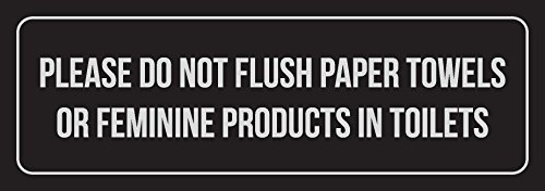 iCandy Combat Black Background W Silver Please Do Not Flush Paper Towels Or Feminine Products in Toilets Metal Wall Sign - 6 Pack, 3x9
