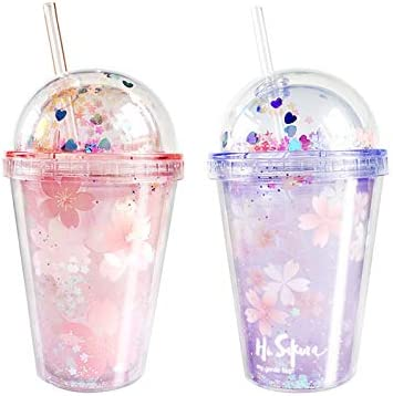 Cherry Blossoms Toddler Cup with Straw and Lid for Kids Flowers Travel Tumblers Cup Women Ice Coffee Mug Reusable Plastic Cup Floral Double Wall Vacumm Water Bottle (pink cherry blossoms, 290ml)