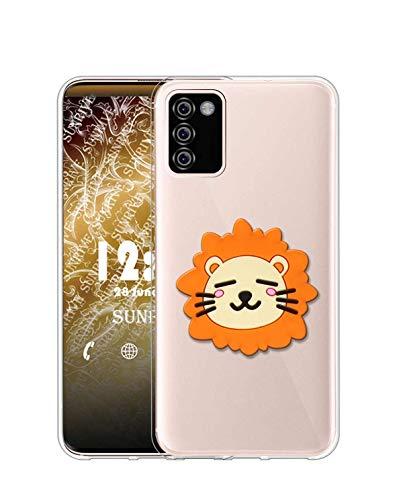 Sunrive Funda para LG K42, Silicona Transparente Gel Carcasa Case Bumper Anti-Arañazos Espalda Cover Anillo Kickstand(León) + 1 x Lápiz óptico