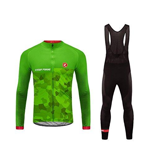Uglyfrog Ciclismo Maillot Hombres Invierno Fleece Warm Jersey +Culotte Pantalones Largos Mangas Largas Bodies Ciclismo Ropa Maillot para Deportes al Aire Libre Ciclo Bicicleta