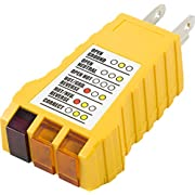 GE 50542 Receptacle Tester, 3-Wire Light Improper Wiring Indicator, Gray/Yellow