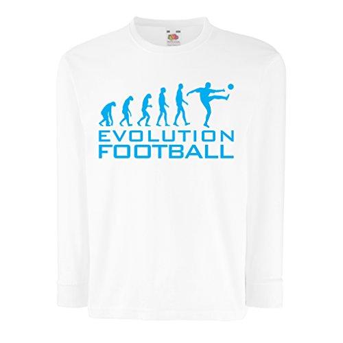 lepni.me Camiseta para Niño/Niña La evolución del fútbol - Camiseta de fanático del Equipo de fútbol de la Copa Mundial (7-8 Years Blanco Azul)