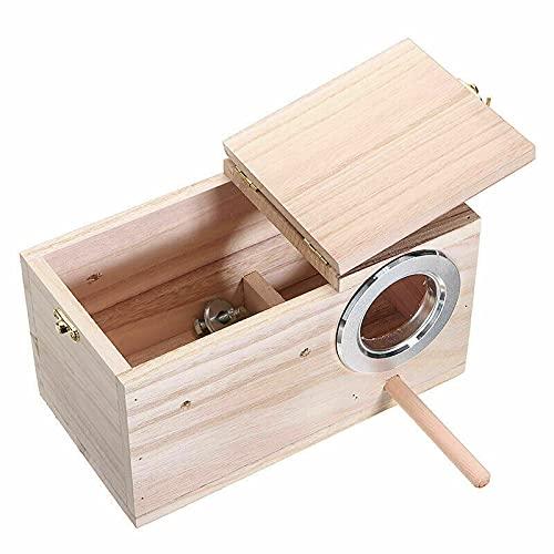 MTING 12 x 12 x 19,5 cm caja de madera para nido de cría de pájaros, nido de aves cálido, incubadora de aves y cacatúas