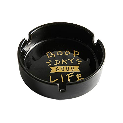 Cenicero de escritorio cenicero redondo de cerámica para el hogar, sala de estar, oficina, decoración práctica regalo (negro)
