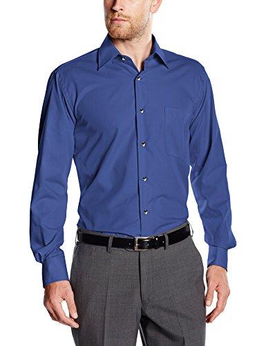 BlueBlack Herren Regular Fit Business Hemd Valerio, langarm, bügelfrei, Gr. Kragenweite: 40, Blau (dunkelblau 15)