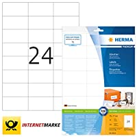 HERMA 8644 70x37mm Colour Laser Paper Rectangular Premium Multi Function Labels - Matte White (240 Labels, 24 per Sheet)